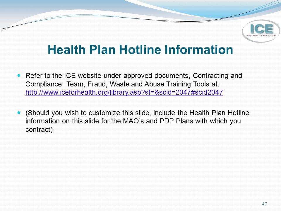 Health Plan Hotline Information