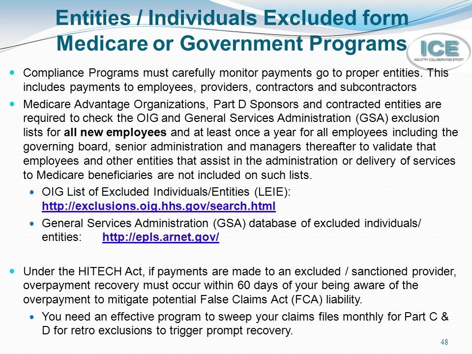 Entities / Individuals Excluded form Medicare or Government Programs