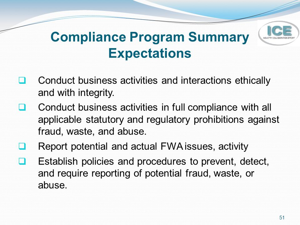 Compliance Program Summary Expectations