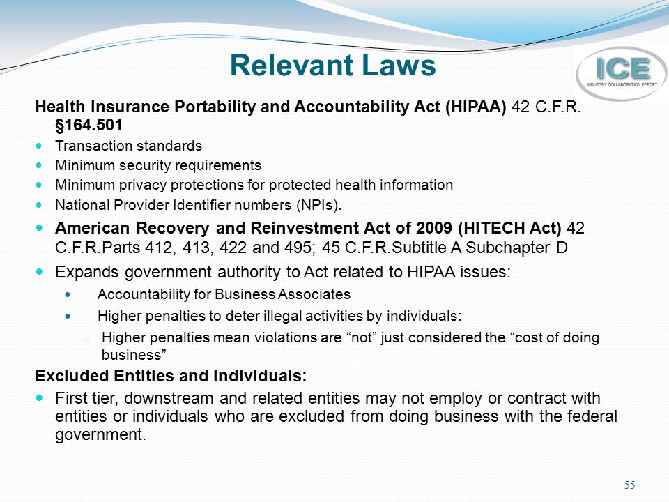 Relevant Laws Health Insurance Portability and Accountability Act (HIPAA) 42 C.F.R. §164.501. Transaction standards.