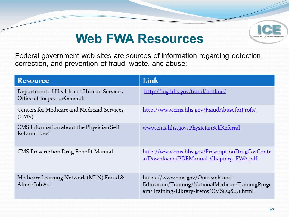 Web FWA Resources Federal government web sites are sources of information regarding detection, correction, and prevention of fraud, waste, and abuse: