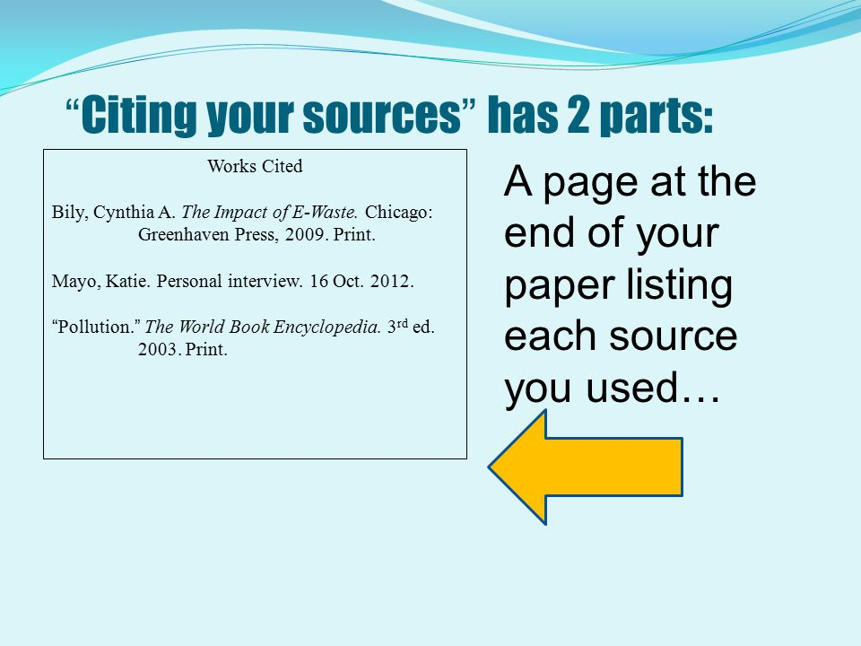 Citing your sources has 2 parts: