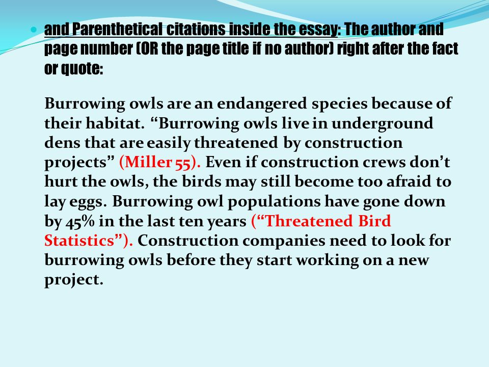 and Parenthetical citations inside the essay: The author and page number (OR the page title if no author) right after the fact or quote: