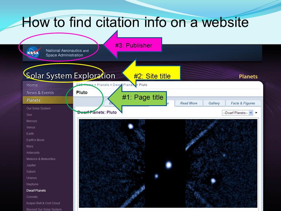 How to find citation info on a website