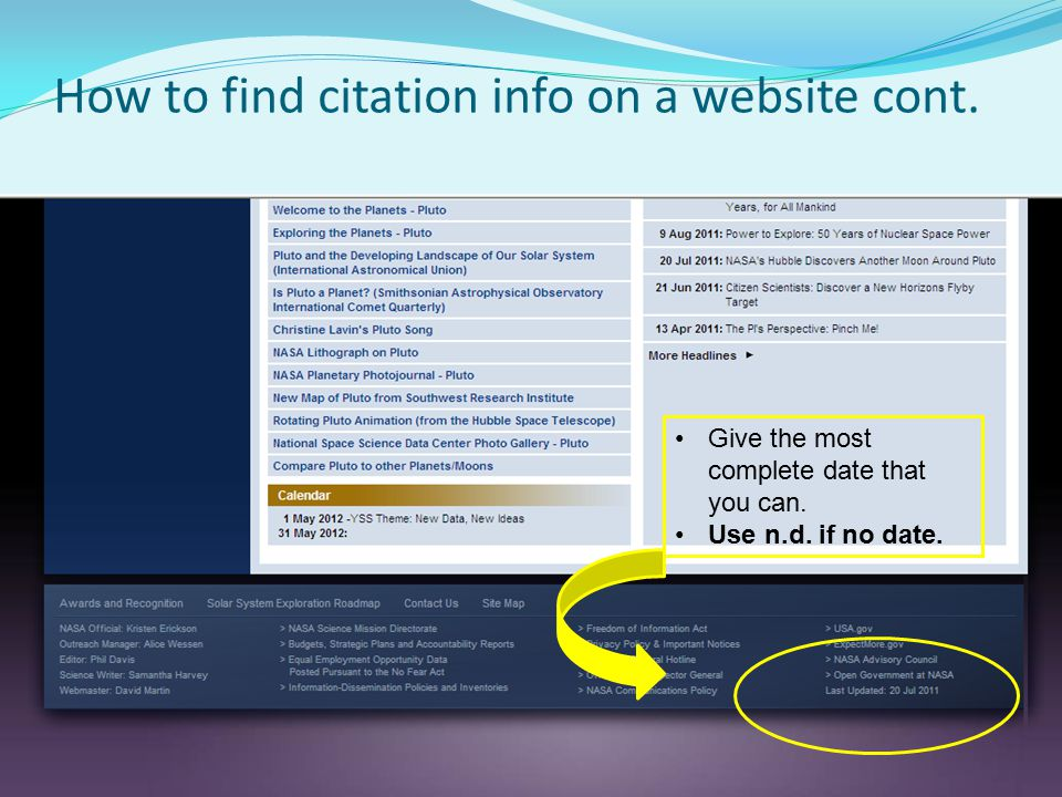 How to find citation info on a website cont.