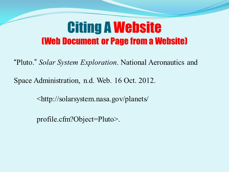 Citing A Website (Web Document or Page from a Website)