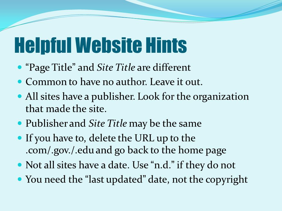 Helpful Website Hints Page Title and Site Title are different