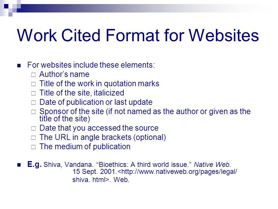 Work Cited Format for Websites