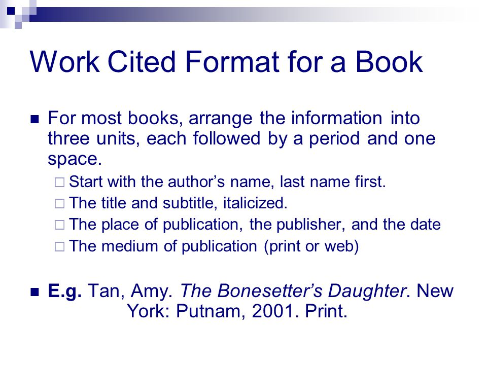 Work Cited Format for a Book
