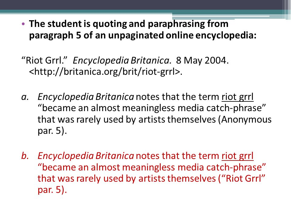 The student is quoting and paraphrasing from paragraph 5 of an unpaginated online encyclopedia: