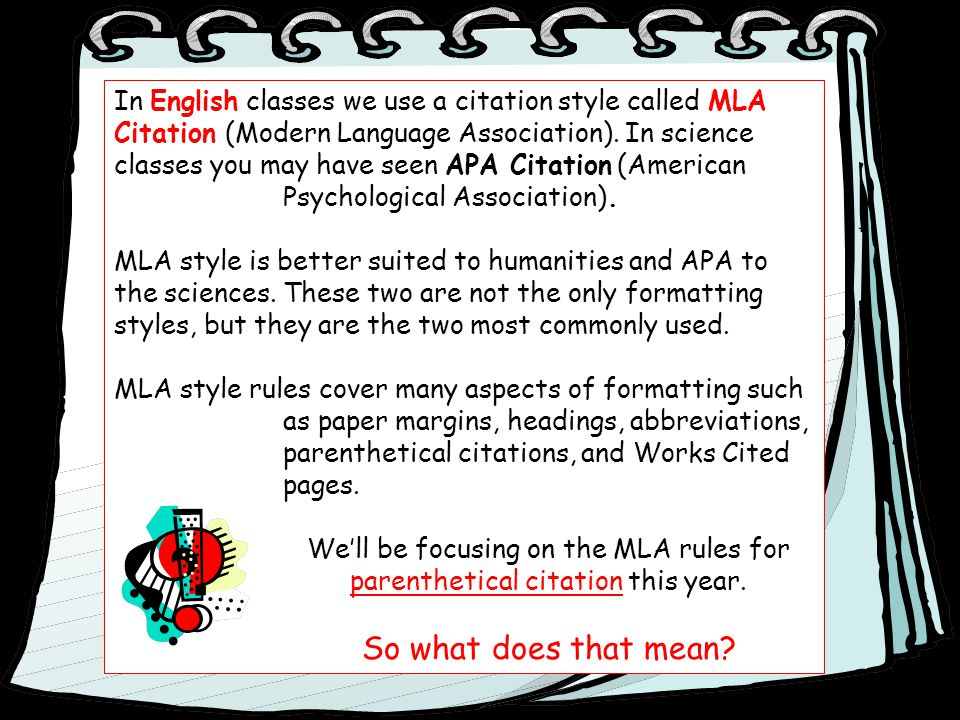 In English classes we use a citation style called MLA