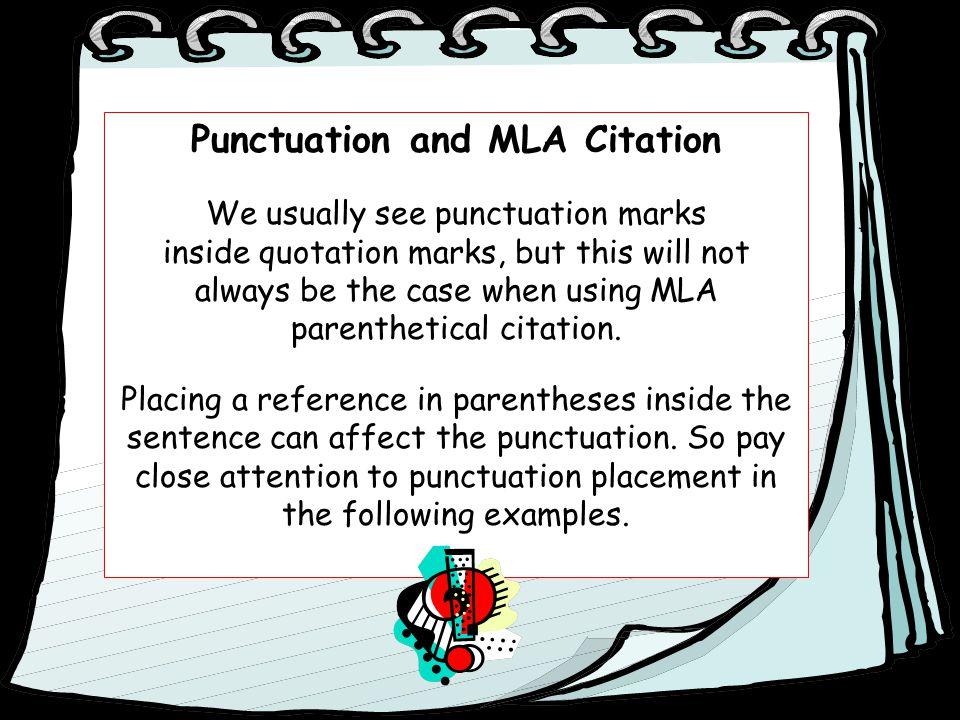 Punctuation and MLA Citation