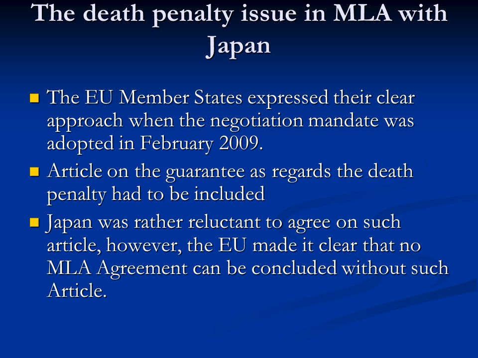 The death penalty issue in MLA with Japan