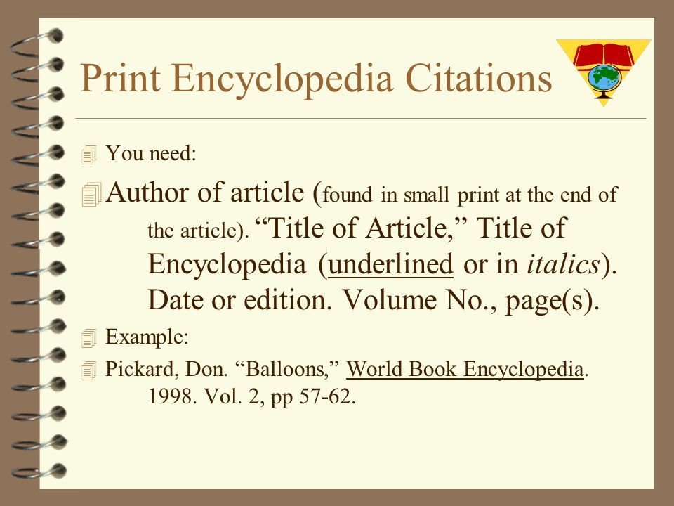 how to write a bibliography for an encyclopedia article
