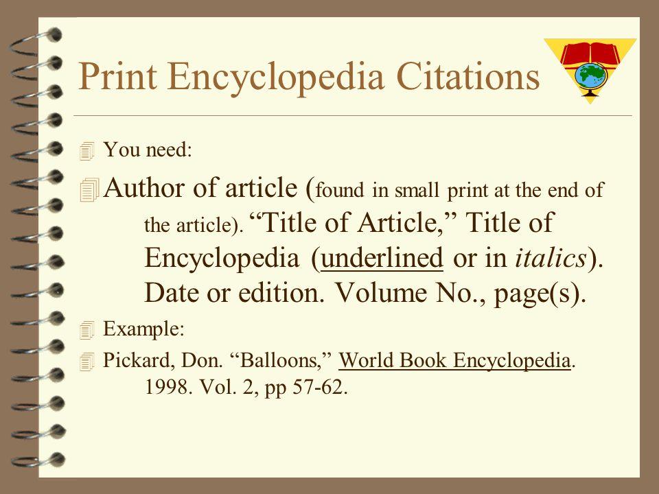 Print Encyclopedia Citations