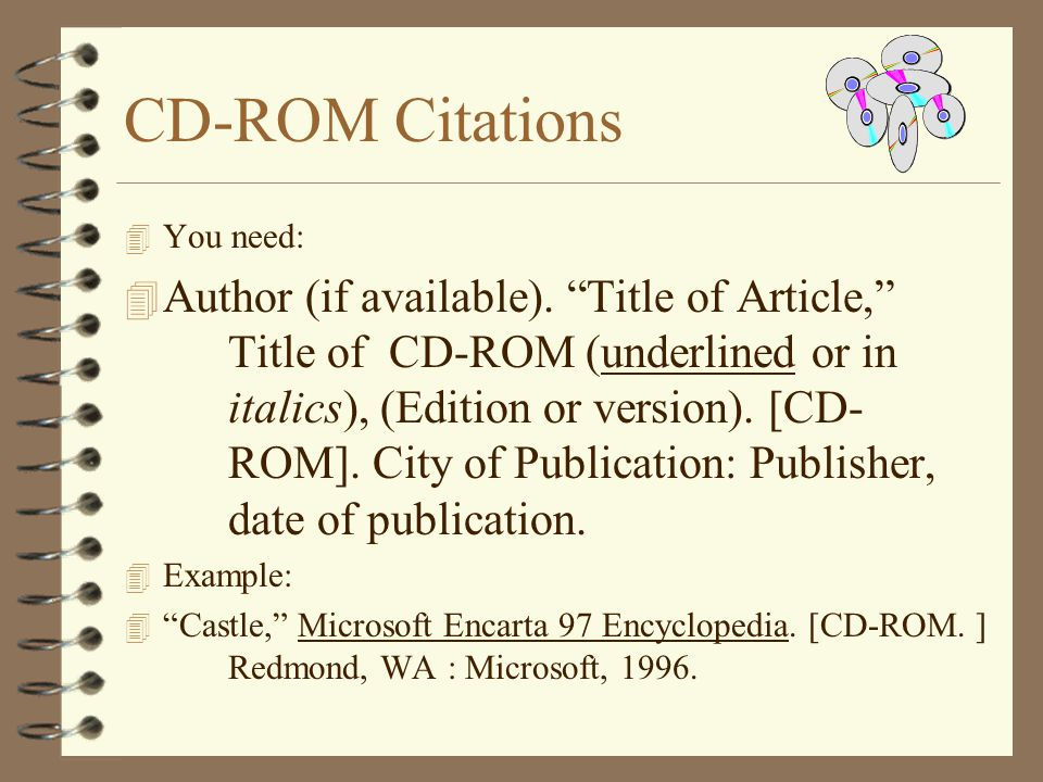 CD-ROM Citations You need: