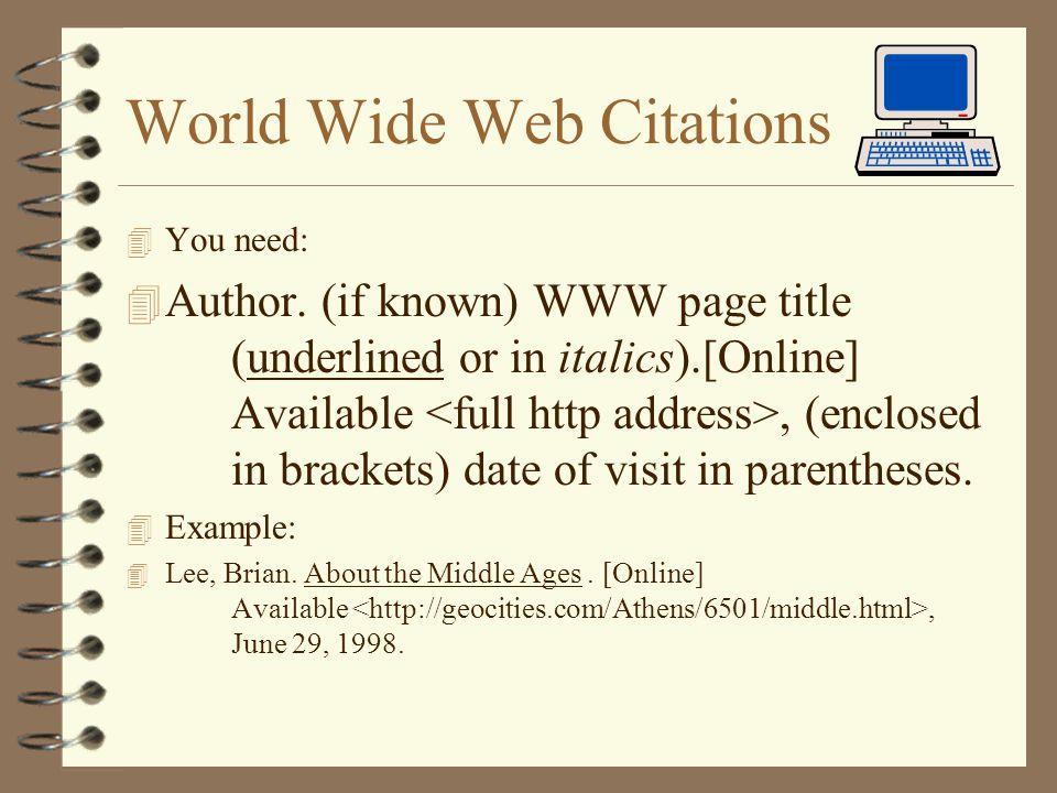World Wide Web Citations