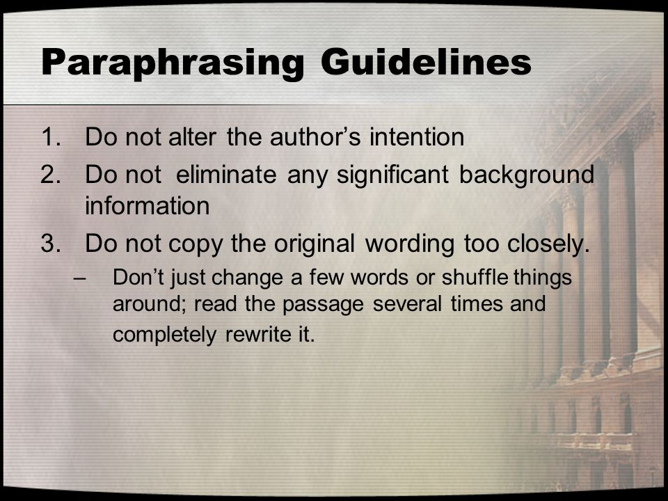 Paraphrasing Guidelines