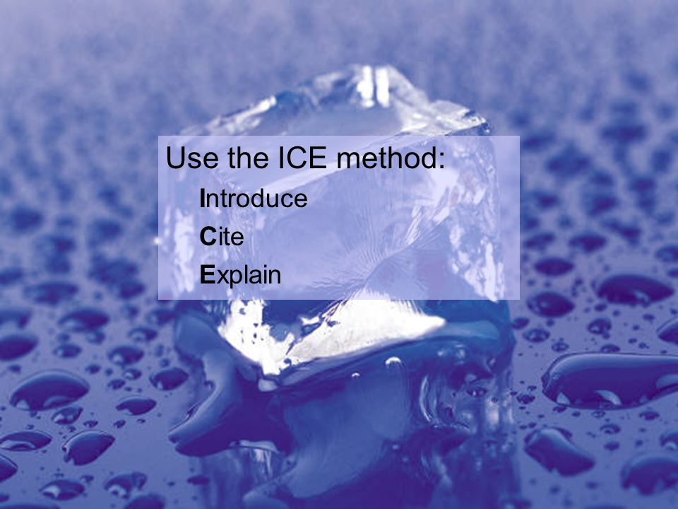 Use the ICE method: Introduce Cite Explain