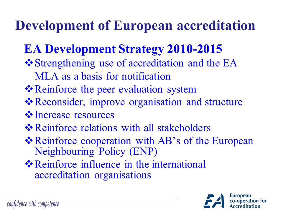 Development of European accreditation