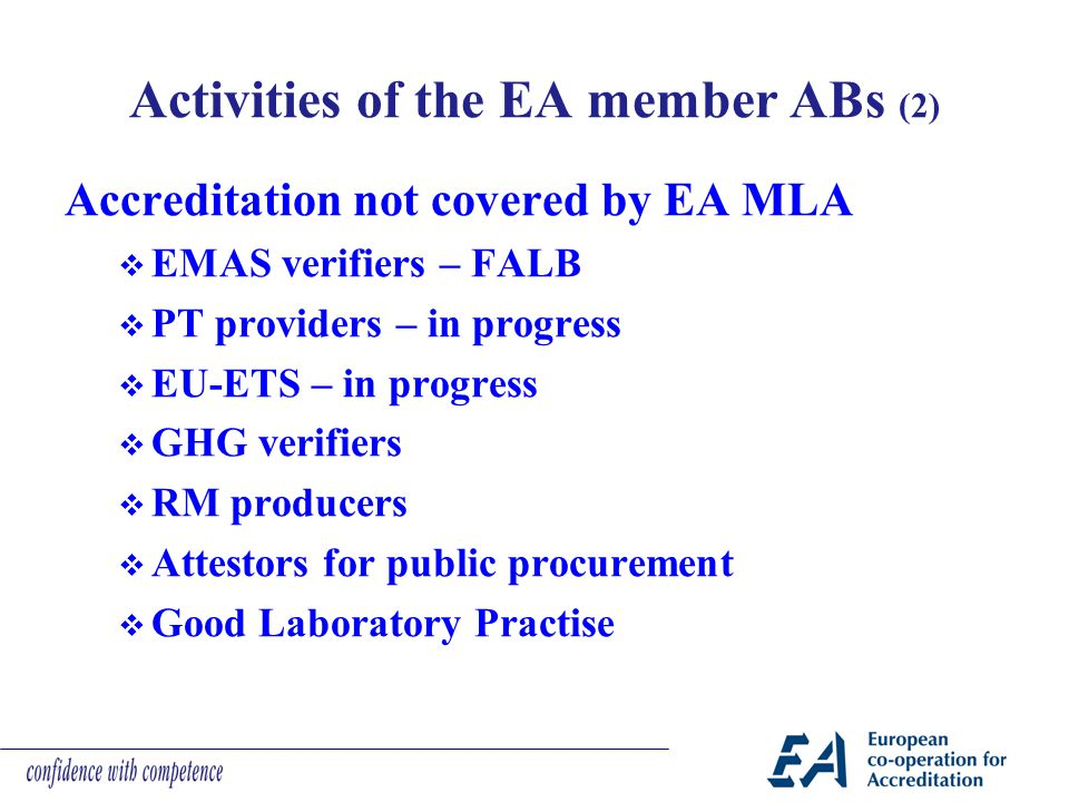 Activities of the EA member ABs (2)