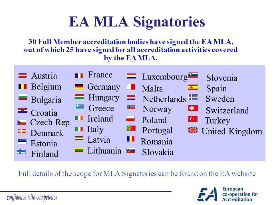 EA MLA Signatories Austria France Luxembourg Slovenia Belgium Bulgaria