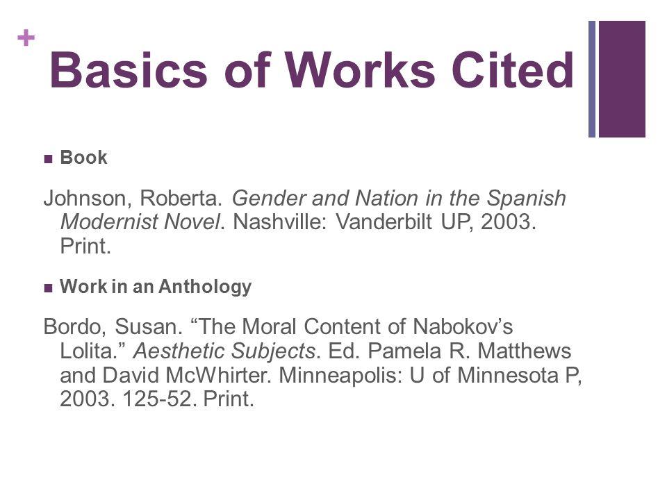 Basics of Works Cited Book. Johnson, Roberta. Gender and Nation in the Spanish Modernist Novel. Nashville: Vanderbilt UP, 2003. Print.