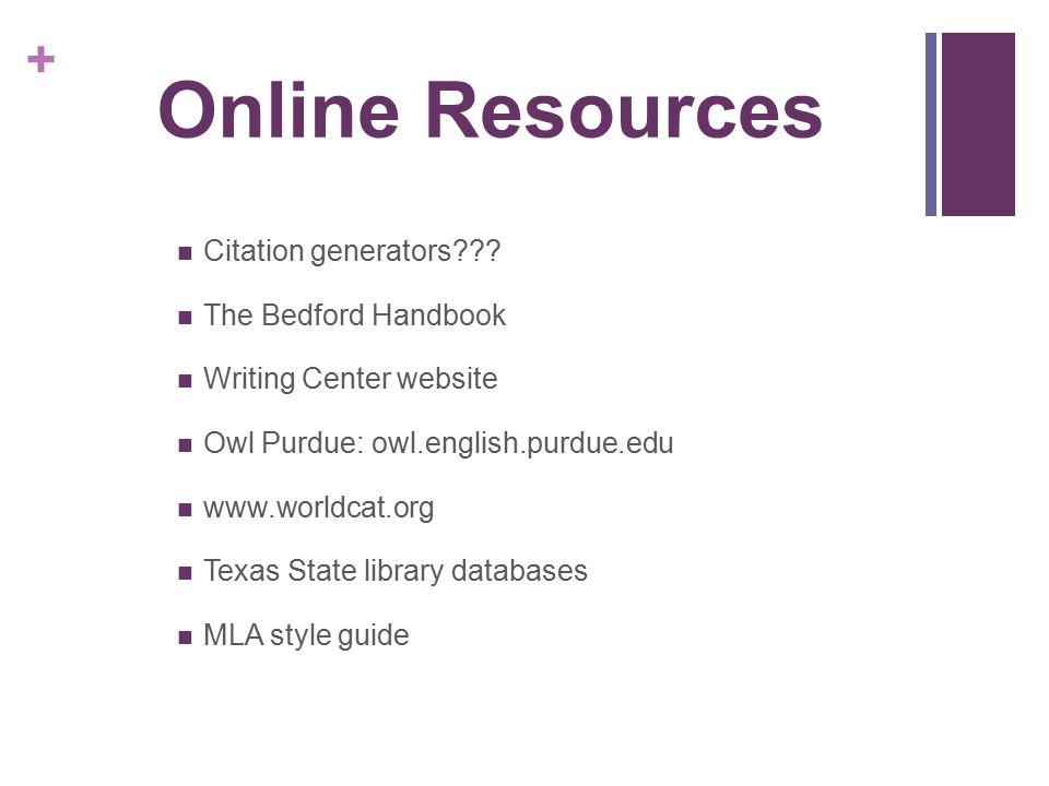 Online Resources Citation generators The Bedford Handbook