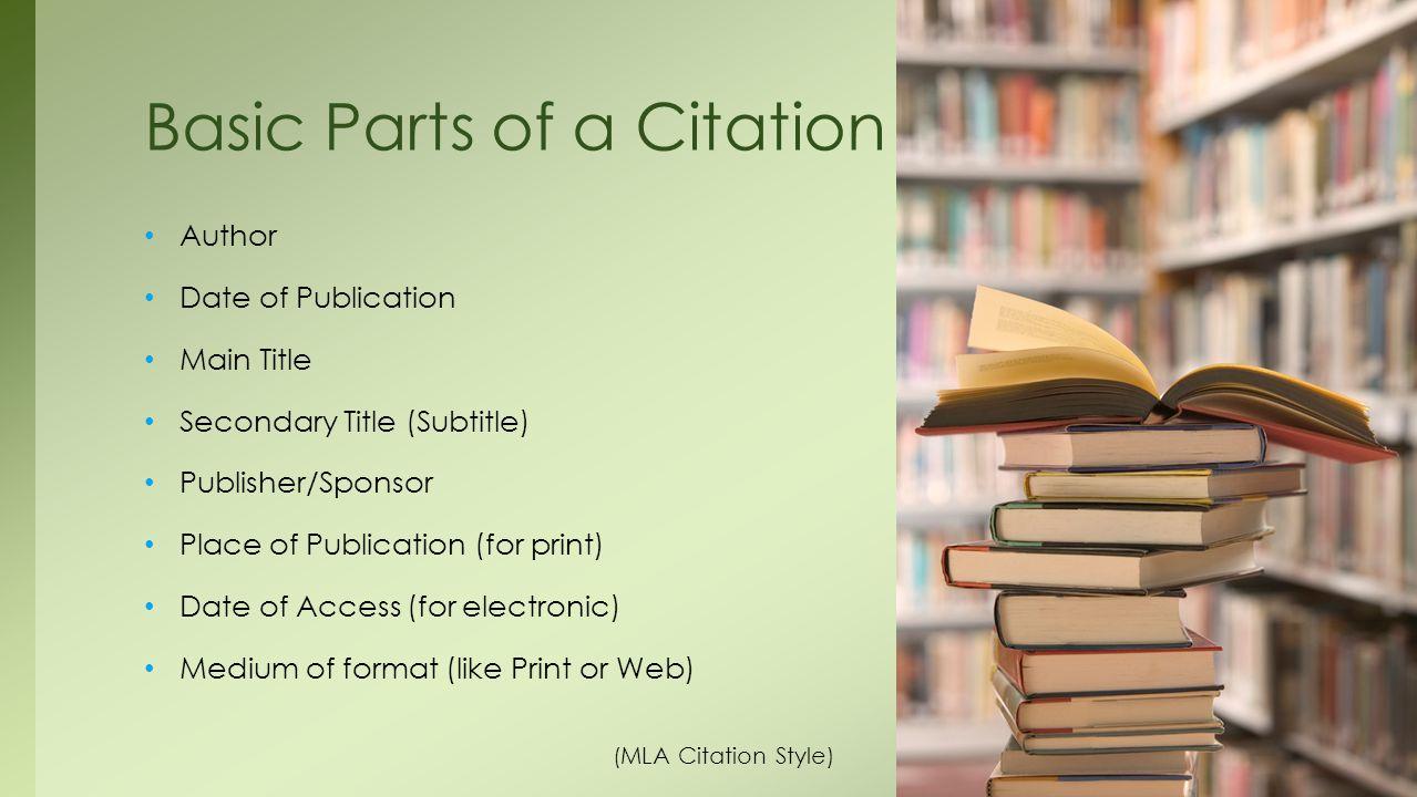 Basic Parts of a Citation
