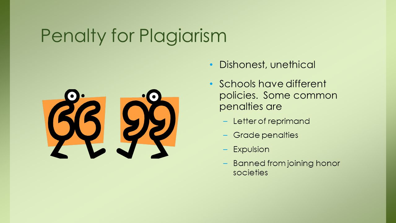 Penalty for Plagiarism