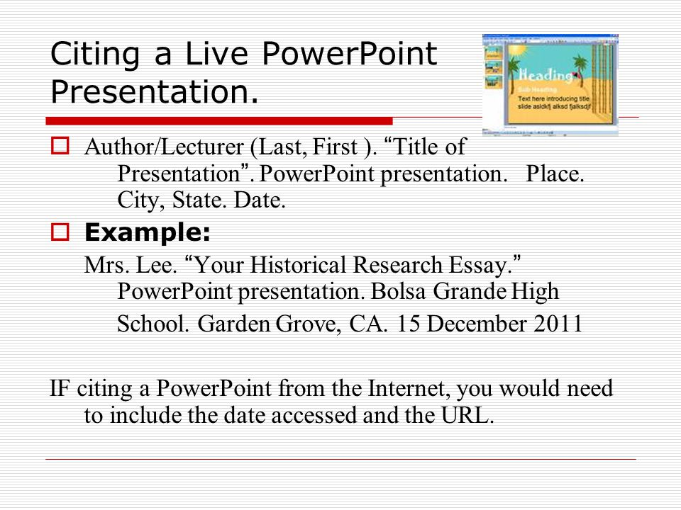 Citing a Live PowerPoint Presentation.