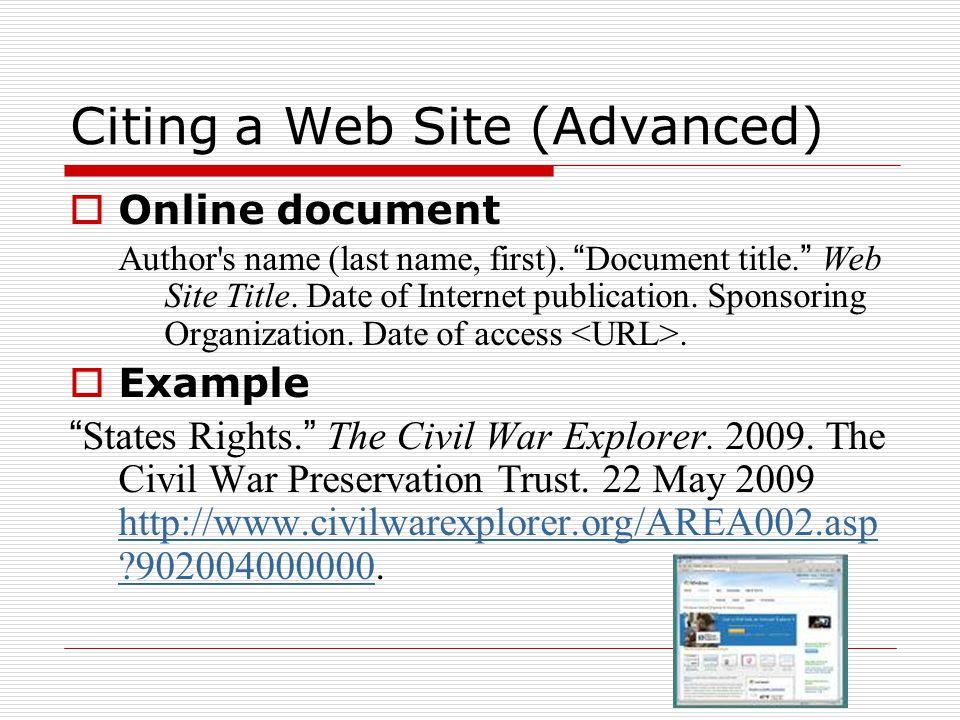Citing a Web Site (Advanced)
