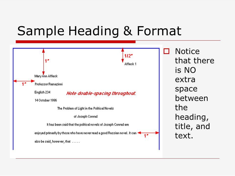Sample Heading & Format
