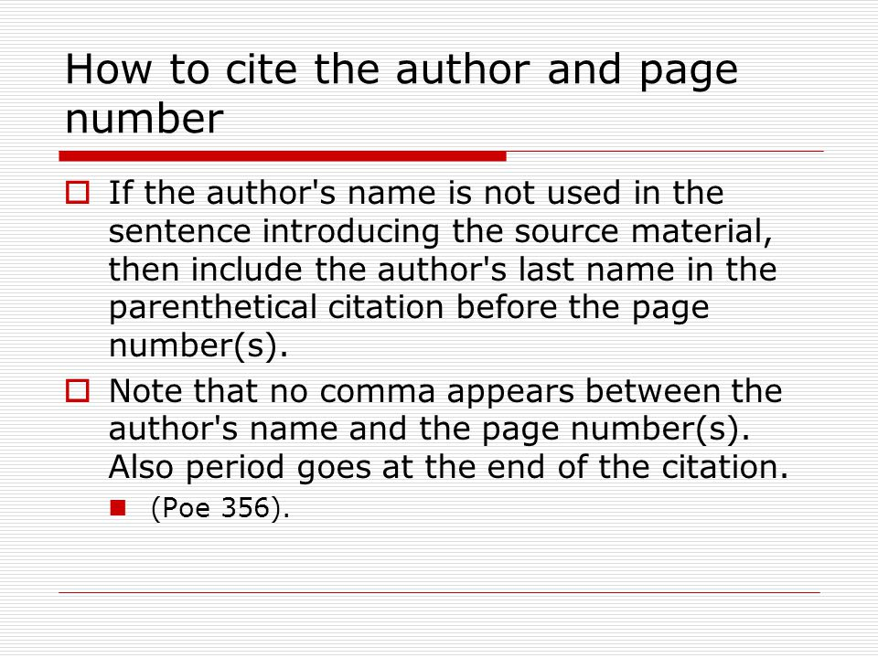 How to cite the author and page number