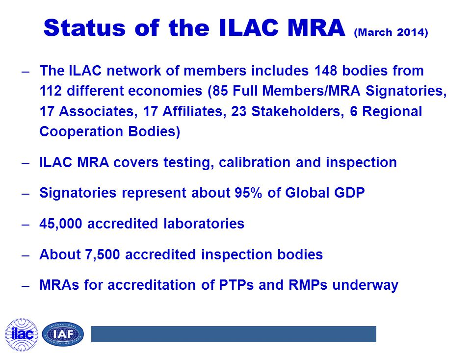Status of the ILAC MRA (March 2014)