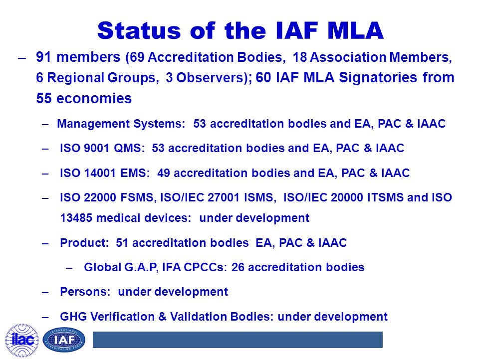 Status of the IAF MLA