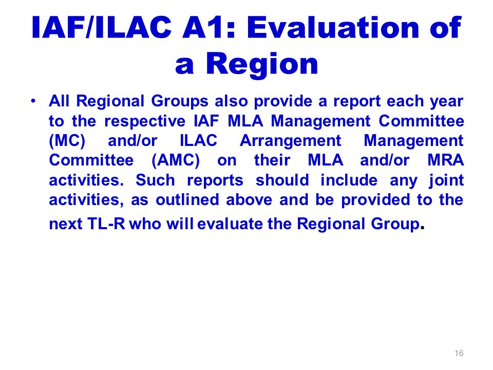 IAF/ILAC A1: Evaluation of a Region