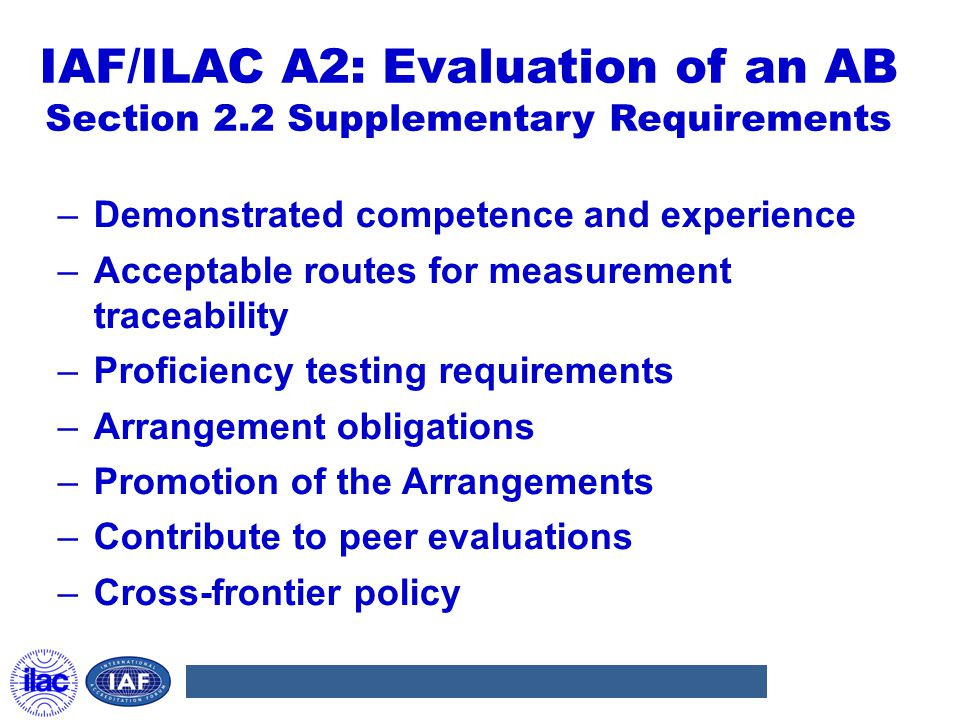 IAF/ILAC A2: Evaluation of an AB Section 2