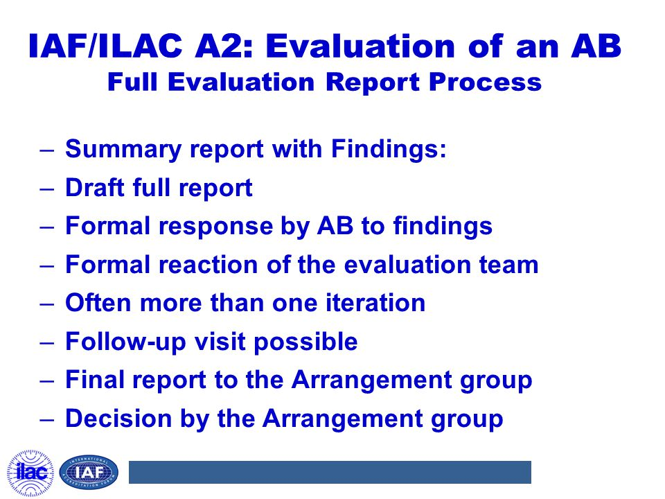 IAF/ILAC A2: Evaluation of an AB Full Evaluation Report Process