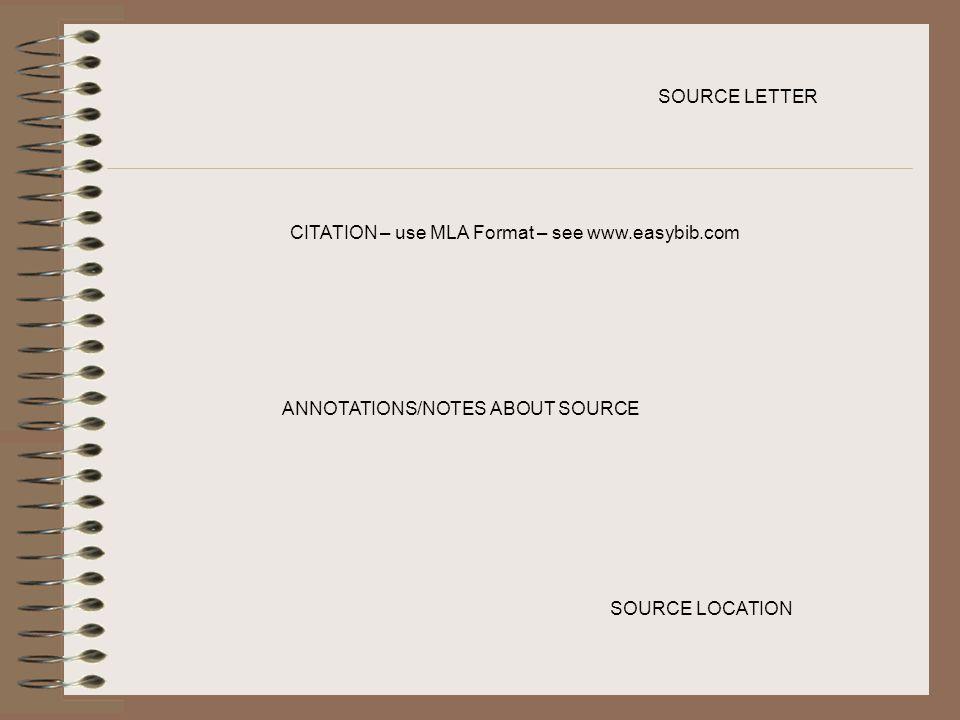 SOURCE LETTER CITATION – use MLA Format – see www.easybib.com.