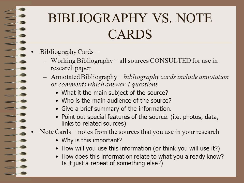 how so that you can perform annotated bibliography cards