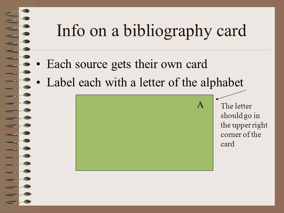 Info on a bibliography card