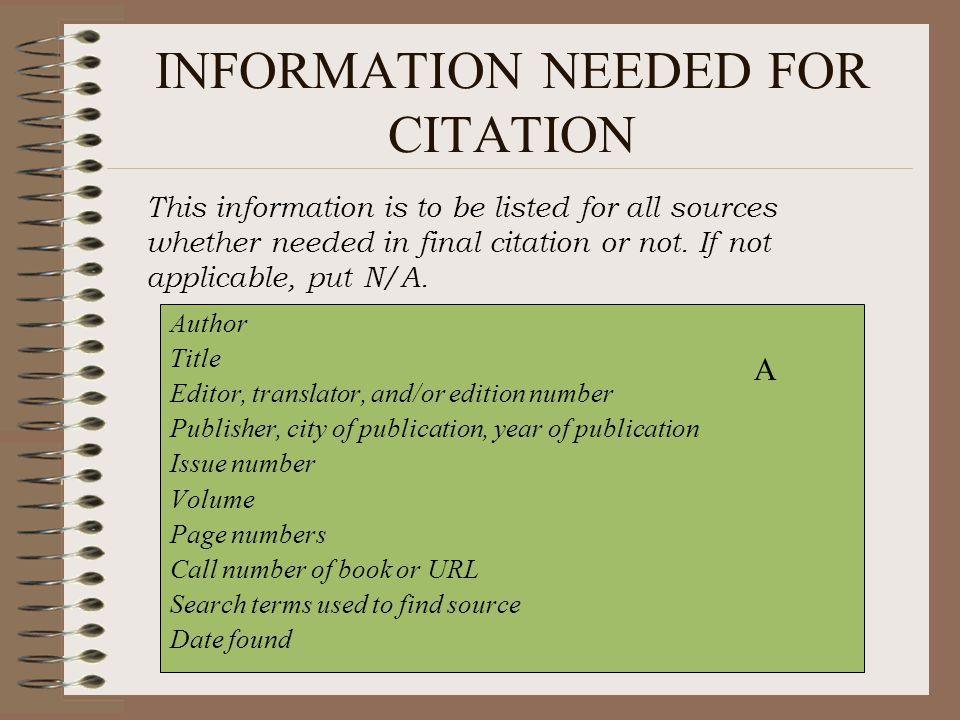 INFORMATION NEEDED FOR CITATION