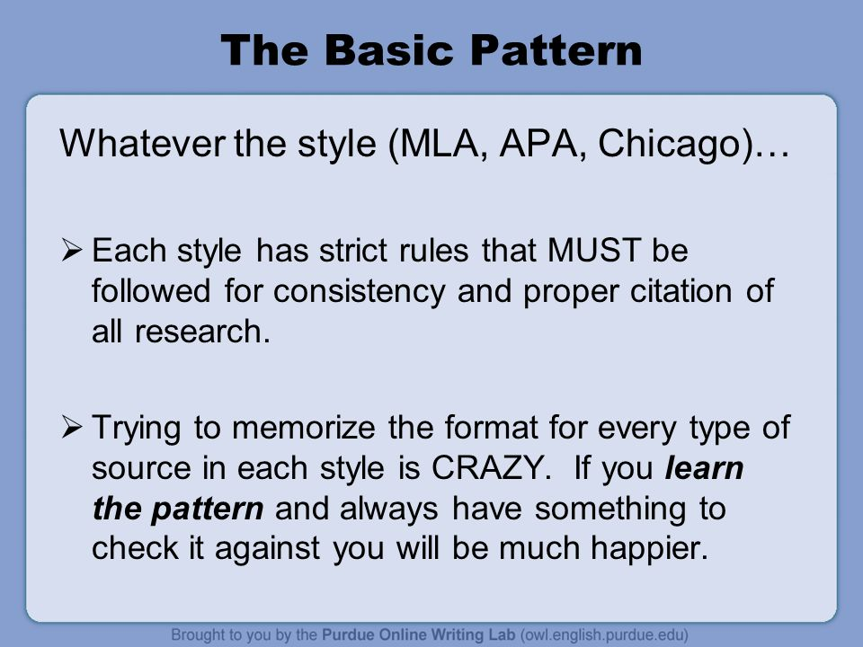 The Basic Pattern Whatever the style (MLA, APA, Chicago)…