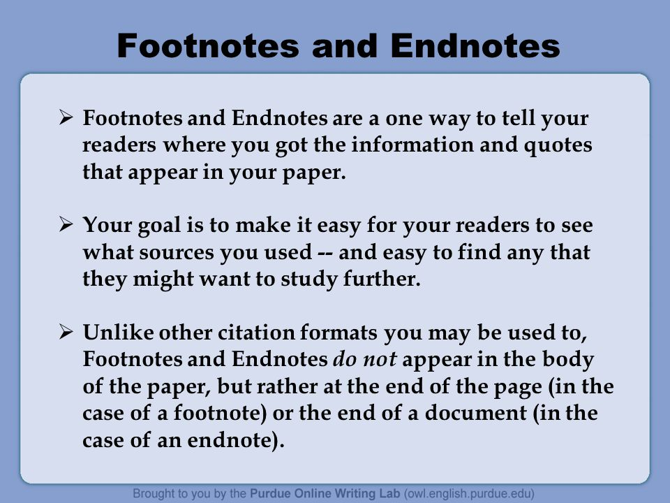 what are endnotes for a research paper