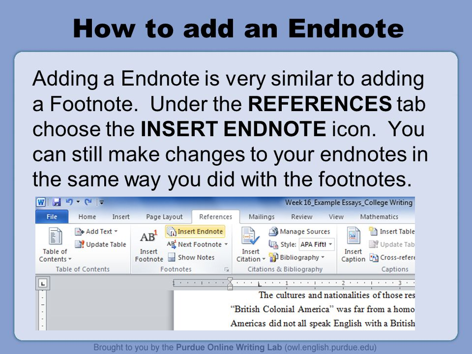 How to add an Endnote