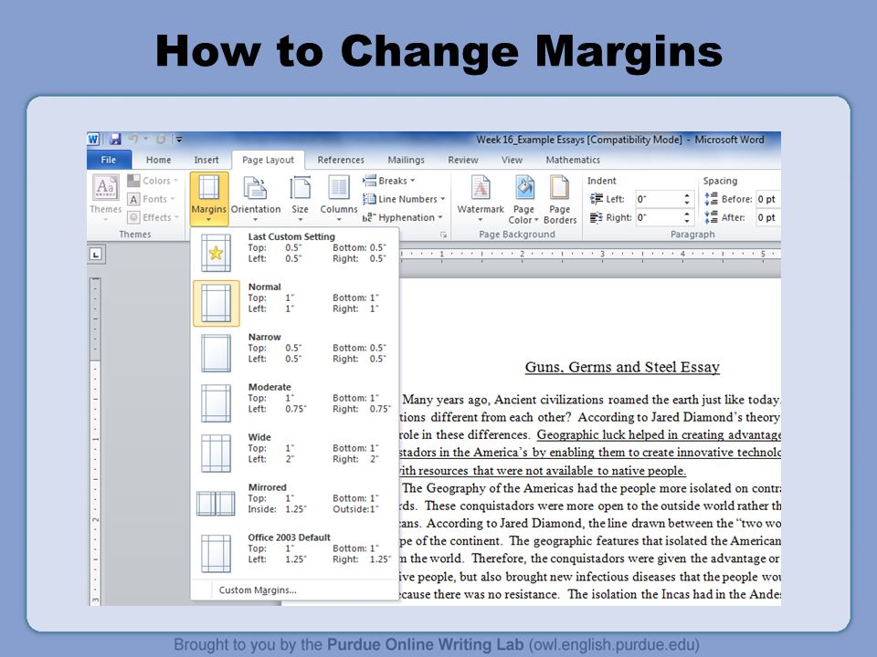 How to Change Margins