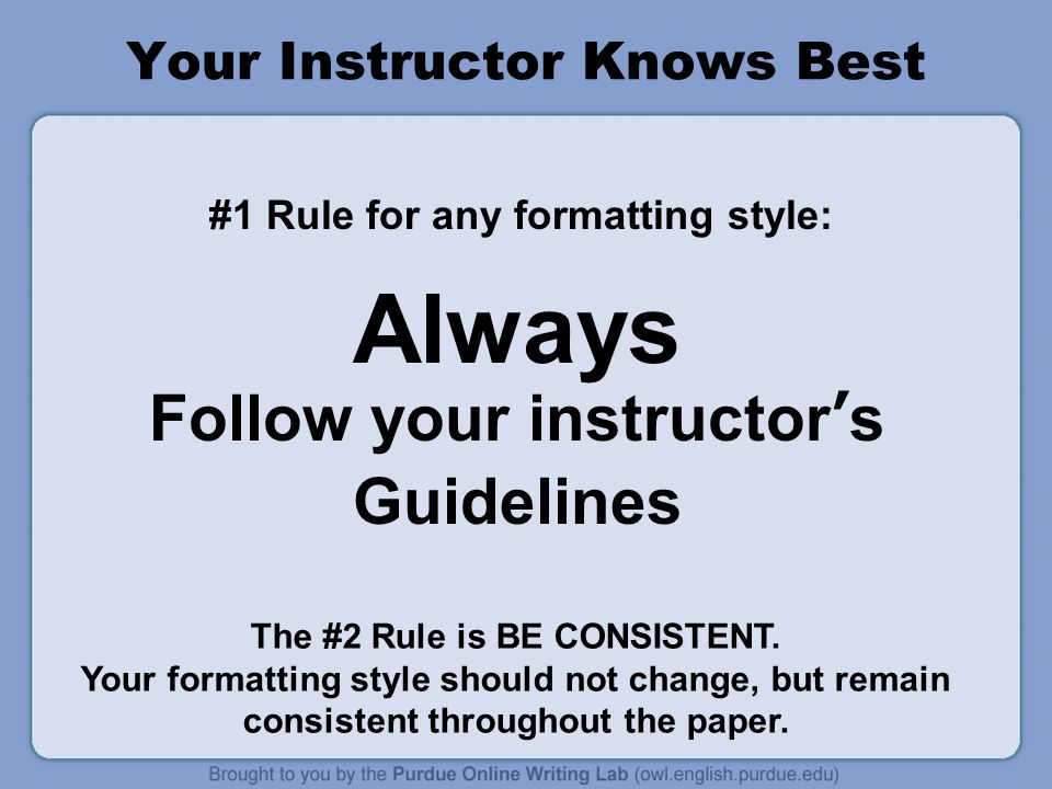 Your Instructor Knows Best