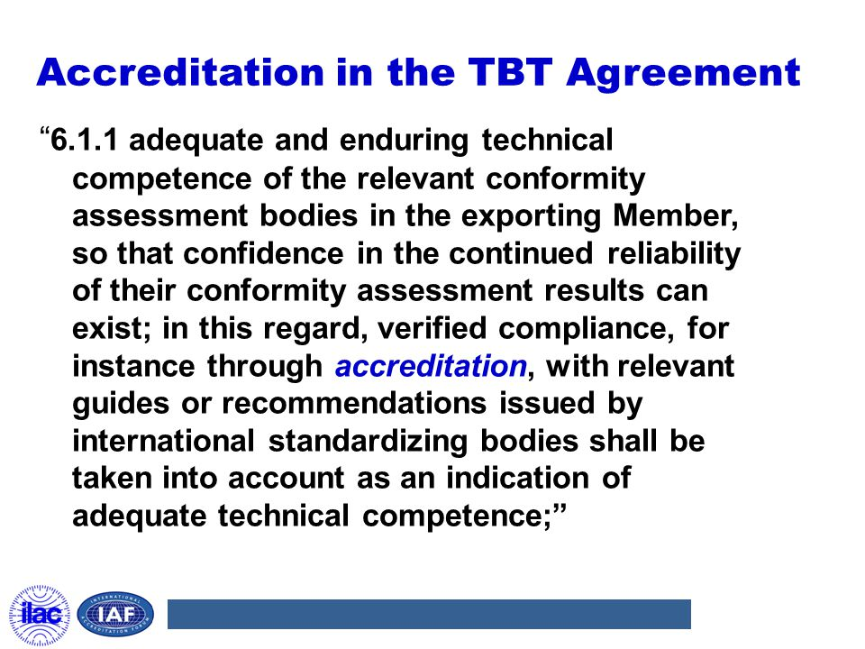 Accreditation in the TBT Agreement