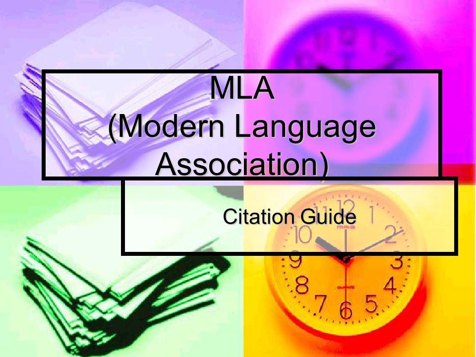 MLA (Modern Language Association)